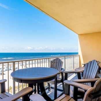 Balcony with Beach Views at Gulf Shores Condo Rental